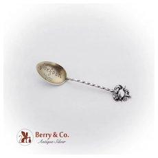 Souvenir Demitasse Spoon Applied Crab Finial Gilt Bowl Redlich Sterling Silver