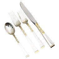 Golden Scroll Four Piece Place Size Setting Gorham Sterling Silver 1977