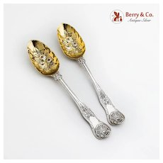 Victorian Ornate Tablespoons Pair Gilt Floral Bowls Sterling Silver 1849 London