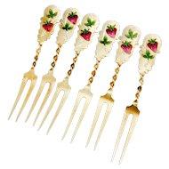 Gilt Strawberry Forks Set Enamel Strawberry Pattern Sterling Silver 1900