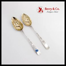 Georgian Tablespoons Pair Gilt Cornucopia Bowls Sterling Silver 1800 London
