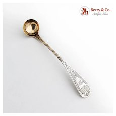 Engraved Mustard Ladle Twist Handle Gilt Bowl Coin Silver 1860