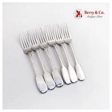 Vintage Russian Luncheon Forks Set Khlebnikov 84 Standard Silver