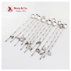 Japanese Iced Tea Spoons Set Figural Charms 950 Sterling Silver 1930