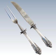 Grande Baroque Small Carving Set Stainless Blades Wallace Sterling Silver