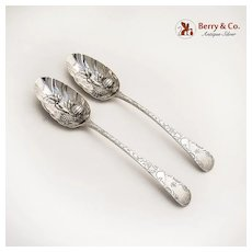 Georgian Decorated Table Spoons Sterling Silver London 1787