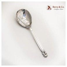 Acorn Berry Spoon Pierced Sterling Silver Georg Jensen