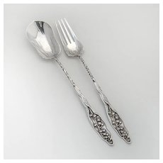 Lily of the Valley Long Handle Salad Serving Set Sterling Silver Whiting 1885