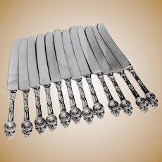 Medallion Hollow Handle Dinner Knives 12 Sterling Silver Gorham