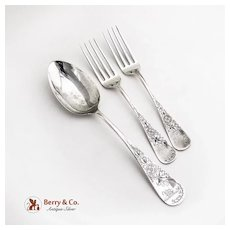 Antique Lily Engraved 2 Dinner Forks 1 Serving Spoon Sterling Whiting 1882