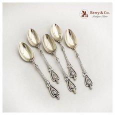 Demitasse Spoons 5 Renaissance Revival 800 Silver Hungary 1890