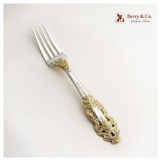 Crown Baroque Gold Dinner Fork Sterling Silver Gorham 1975