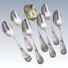 Teaspoons 6 and 1 Sugar Spoon Sterling Silver Wood and Hughes 1890