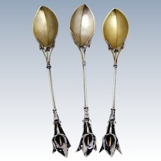 Calla Lily Serving Spoons 3 Sterling Silver Whiting Mfg