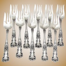 Buttercup Fish Forks 10 Sterling Silver Patent 1900 Gorham Silversmiths