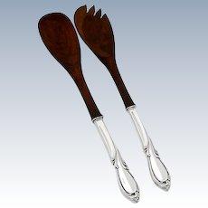 Salad Serving Set Spoon Fork Wooden Bowl Sterling Silver Handles