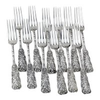 Saint Cloud Dinner Forks 12 Sterling Silver Gorham Silversmiths 1885