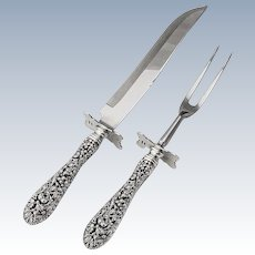 Rose Carving Set Fork and Knife Stieff Sterling Silver