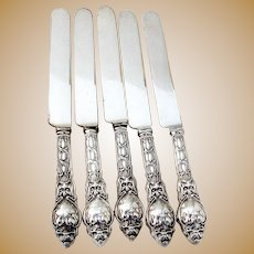 Douvaine Dinner Knives 5 Sterling Silver Unger Brothers 1904