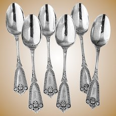 Ivy Dessert Spoons 6 Sterling Silver Whiting Hebbard 1866