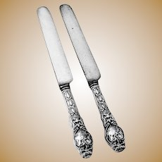 Douvaine Dinner Knives 2 Sterling Silver Unger Brothers 1904 Mono T