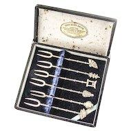 Figural Cocktail Forks Japanese Motif Sterling Silver