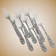 Repousse 9 Forks Sterling Silver 925/1000 Kirk Mark