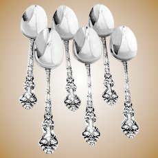Douvaine Table Spoons 6 Sterling Silver Unger Brothers 1890