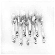 Acorn Dinner Forks 9 Sterling Silver Georg Jensen