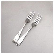 Dinner Forks Fiddle Tipt Sterling Silver London 1863