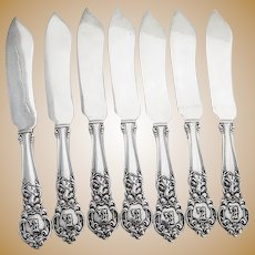 Royal Oak Fish Knives 7 Sterling Silver Gorham Silversmiths 1902