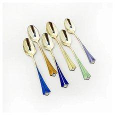 Demitasse Spoons Set 6 Multi Colored Enamel Sterling Silver David Andersen
