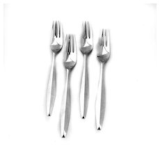Diamond 4 Dinner Forks Sterling Silver Reed and Barton