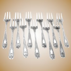 Cocktail Forks 11 Coin Silver Engine Turned Designs Peter L Krider