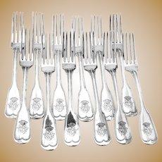 Dinner Forks 12 Fiddle Thread Crown Crest 800 Silver