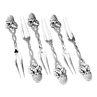Tiffany Co Strawberry Forks Set Sterling Silver 1875 Mono