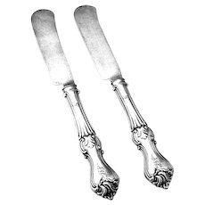 Prince Albert Breakfast Knives Pair Coin Silver 1860 Mono