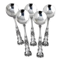 Buttercup Gumbo Soup Spoons Set Gorham Sterling Silver 1899