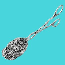 Openwork Rose Blossom Sandwich Tongs 835 Silver 1900