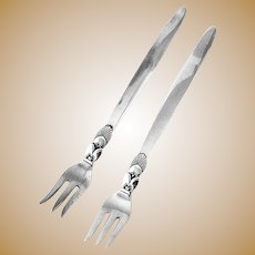 Georg Jensen Cactus Cocktail Forks Pair Sterling Silver