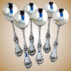 Reed Barton Les Cinq Fleurs Gumbo Soup Spoons Sterling Silver