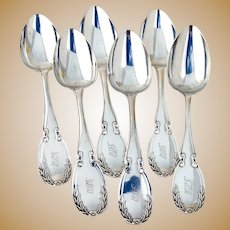 Wreath Table Serving Spoons Set Joseph Seymour Coin Silver