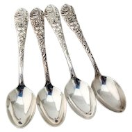 Flora Place Oval Soup Spoons Set Reed Barton Sterling Silver Mono