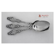 Tablespoons 7 Lily Whiting Patent 1902 Sterling Silver No Monogram and Monogram O