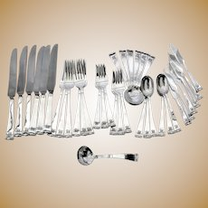 Modern Georgian 37 Piece Flatware Set Allan Adler Sterling Silver Monogram