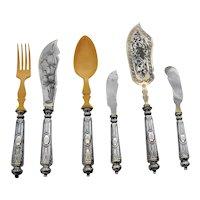Ornate Austrian 800 Silver Serving Flatware Set Engraved Blades 1900s
