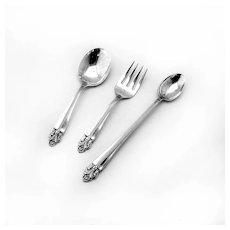 Art Deco Floral Baby Flatware Set Wolfenden Sterling Silver 1930s