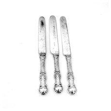 Shiebler Louvre Regular Knives Set Stainless Blades Sterling Silver