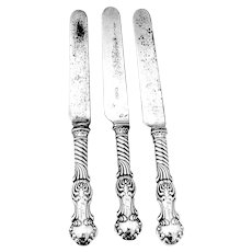 Shiebler Louvre Regular Knives Set Stainless Blades Sterling Silver