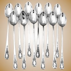 Madam Jumel Iced Teaspoons Set Whiting Sterling Silver 1908